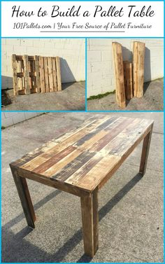 How-to-Make-Pallet-Table-Pallet-Furniture.jpg (735×1175)