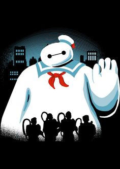 Kids tee  'Baypuft'  Baymax vs. The Ghostbusters by Apocalyptee