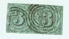 1852 Germany Southern States SCOTT 43 Used FH No WM Imperf 3kr Dark Blue