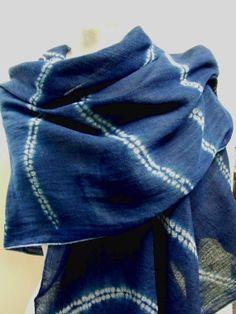 Cotton scarf hand dyed indigo blue wavy pattern