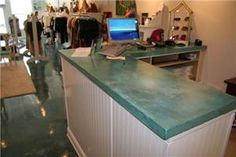 Ideal countertop for Peggy's cottage. More grey/green in the mix is OK, but aqua/grey is preferred.