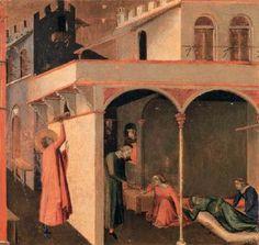 """Ambrogio Lorenzetti - Dono alle tre prostitute da """"Scene della vita di San Nicola"""" -   c. 1332 - Tempera su tavola - Galleria degli Uffizi, Firenze"""