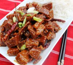 """General Tso Seitan Ingredients: ½ c all purpose flour ½ c rice flour ½ t baking powder ½ t baking soda 1 ½ - 2 ½ c ice cold soda water 4 c ½""""-cubed seitan pieces or4 c rehydrated TVP pieces (rehydrated in flavored broth not just water. Add a few tablespoons of Chicken-style Broth Powder to water) oil for frying 2 T oil 5-15 red chili peppers 10 garlic, minced Sauce: 3 T rice vinegar 4 T mirin (rice wine) or white wine 6 T sugar 4 T tamari 1 ½  T cornstarch"""