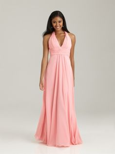 Cheap Halter V-neck Floor Length Pink Chiffon Bridesmaid / Maternity / Evening / Wedding Party Dresses Under 100