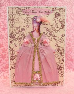 Marie Antoinette Personalised Dress Card / Let Them Eat Cake / C5 Size / Handmade Greeting Card