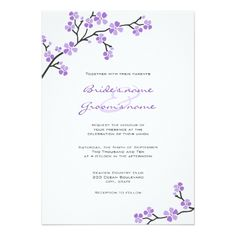 Custom Purple Cherry Blossom Wedding Invitations created by PMCustomWeddings. This invitation design is available on many paper types and is completely custom printed. Cherry Blossom Images, Cherry Blossom Theme, Cherry Blossom Wedding, Lilac Wedding, Purple Wedding Flowers, Cherry Blossoms, Dream Wedding, Indian Wedding Invitations, Purple Wedding Invitations