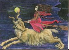 ACEO PRINT OF PAINTING RYTA RAVEN CROW WITCH MOON GOTHIC ART GOAT HALLOWEEN | eBay