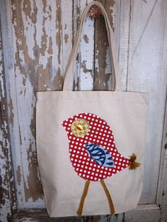 canvas tote bag with red polka dot bird applique by bumbletees