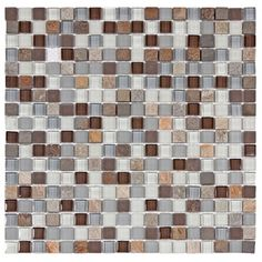 SomerTile Reflections Mini 5/8-in Tundra Glass/Stone Mosaic Tile (Pack of 10, 11.75 x 11.75 in.) | Overstock