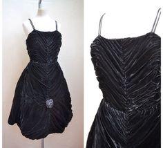 1950s Black velvet ruched evening dress / 50s full skirt party dress - S