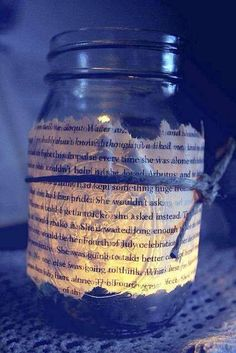 Glowing jar made with a book page