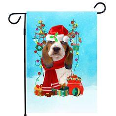 Basset Hound Christmas Garden Flag, Basset Hound Dog Garden flag, Basset Hound Christmas Gifts, Basset Hound Xmas Garden Flag
