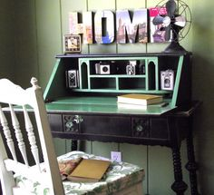 Wow. So in love with those HOME letters, the restyled desk, and that amazing fan!