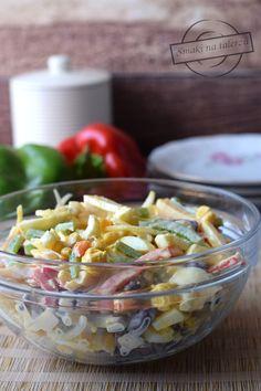 """Paseczkowa"" sałatka II – Smaki na talerzu Ketchup, Pasta Salad, Food And Drink, Lunch, Ethnic Recipes, Impreza, Salads, Crab Pasta Salad, Eat Lunch"