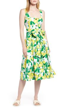 Button Front Lemon Print Dress,                         Main,                         color, Lemon And Leaves