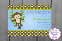 Blue+Brown+Boy+Monkey+Baby+Shower+by+CuddleBugInvitations+on+Etsy,+$10.00