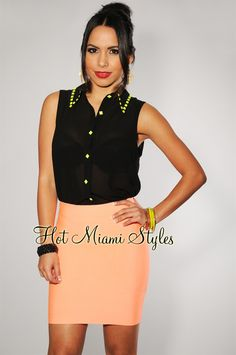 $34.99 Neon Coral Elastic Mini Skirt