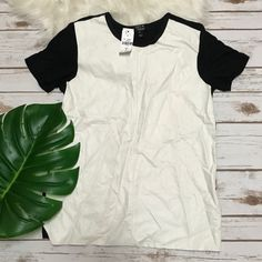 🎉HOST PICK🎉LF Paper Heart Faux Leather Top Super cute and trendy top perfect for autumn! Off white/ivory faux leather with contrast black sleeves and back. New with tags but just noticed a small stain near sleeve. See pics. LF Tops Tees - Short Sleeve