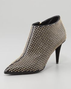Giuseppe Zanotti - Studded Pointy Ankle Bootie, Black/Golden