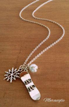 Snowboard Necklace, Collana Snowboard, Snowboarding Necklace, Snowboarder Necklace, Snowflake Jewelry