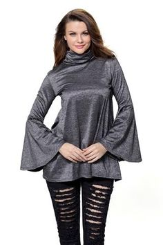 3ba1e1d8634f2 Her Flattering Black Flared Bell Sleeve Knit Fashionable Blouse Blouse  Styles