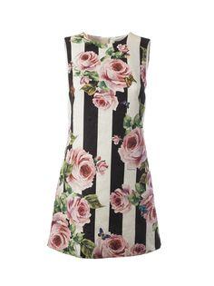 #AdoreWe #Italist - #Dolce & Gabbana Dolce & Gabbana Striped Rose Printed Dress - AdoreWe.com