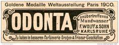 Original-Werbung/ Anzeige 1904 - ODONTA MUNDWASSER / WOLFF & SOHN KARLSRUHE ca. 90 x 30 mm