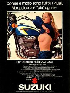 Too much Italian to read! I see a woman trying to seduce a bike. The bike don't bother. - Suzuki GT380 Motorcycle Ad - Model -