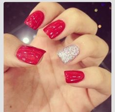 Prom Nails!  Red & Silver!