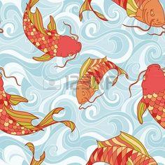 Kleurrijke vissen in de zee golven hand tekening naadloze patroon