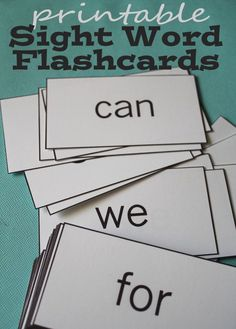 Sight Word Flashcard Printables
