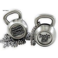 "Ladies Kettle Bell Antique Finish Necklace-Psalm 28:7-""PAT""NO.D715,177"