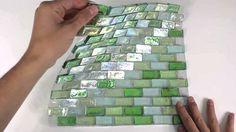 Iridescent Glass Mosaic Tile Aqua Blend 1x2 - 120KELU12BL15 http://www.mineraltiles.com/iridescent-glass-mosaic-tile-aqua-blend-1x2/