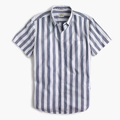 65d901b8 J.Crew National Stripes Day: men's short-sleeve shirt in striped heather  poplin