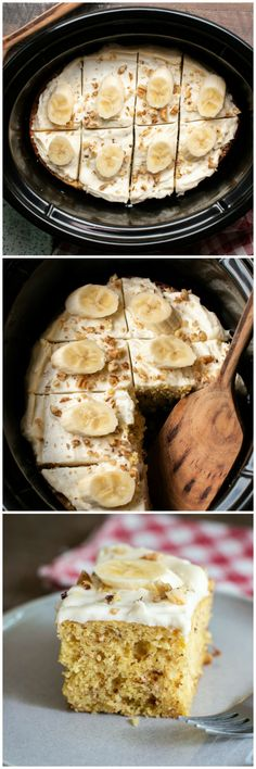 Slow Cooker Banana Nut Cake #slowcooker #crockpot #banana