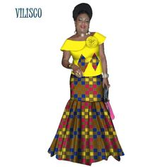 Bazin Riche African Ruffles Sleeve Tops and Skirt Sets for Women Traditional African Print 2 Pieces Skirt Sets Clothing African Fashion Ankara, Latest African Fashion Dresses, African Dresses For Women, African Print Dresses, African Attire, African Wear, African Skirt, African Lace, African Style