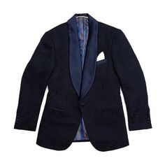 Paisely Dinner Jacket + Pocket Square // Navy + White (US: 36S)