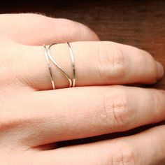 Three SOLID 14k Gold Rings - Rose Gold - White Gold - Yellow Gold - Hammered Stack Rings -  Mixed Metals - Delicate