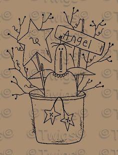 Free Primitive Wood Patterns | Primitive Patterns - Stitcheries - Angels and Dolls - Primitive Angel ...