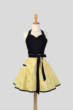 Sweetheart Retro Apron . Sexy Kitchen Apron in Cute Retro Women's  Apron in Lemon Yellow Hummingbirds Damask Black Bodice. $37.00, via Etsy.