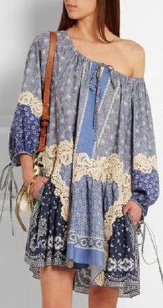 'Chloe' Printed Lace Applique Cotton Mini Dress