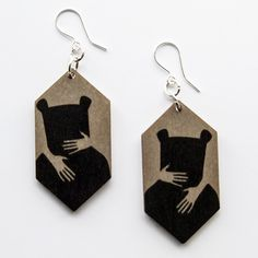 Earrings Bear Hug are printed onto 3 mm sustainably sourced Finnish birch plywood PEFC and FSC certified wood. Tree Branches, Hug, Art Pieces, Bling, Bear, Drop Earrings, Jewellery, Plywood, Birch
