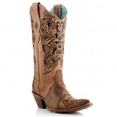 Corral Ladies Boots Brown Tooled Laser Black Overlay Boots