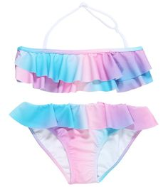 Pastel Rainbow Colored Girls Bikini With Ruffles. For girls in the popular and flattering ruffle cut which goes well with the cute skirt for girls and canvas shoes