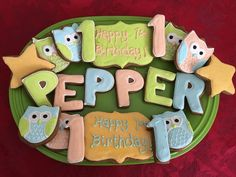 Happy 1st Birthday Royal Icing Sugar Cookies by @cookiesbykatewi #1st #birthday #owls #cookiedecoration