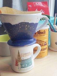 Add a little more beauty and caffeine to your desk with a painted ceramic pour over coffee maker! Pour Over Coffee Maker, Caffeine, Pottery, Desk, Ceramics, Trends, Mugs, Tableware, Crafts