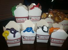Karate party treats - Fortune Cookies & karate belts (made from flavored Twizzlers)