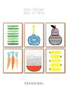 Fruits print set of 6, Fruit illustration, Pear, Carrot, watermelon, Onion, Peas, Corn illustration, Kitchen Art print, Kids room art