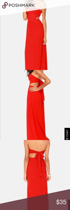 Life of the Red Strapless Maxi Dress Never worn! Strapless top with lightly padded cups, held up by a tie at back that sits just above a lower back cutout. Waist is banded and then flows out beautifully with a maxi length skirt. Hidden back zipper and lined.  This dress is absolutely beautiful & perfect for a formal event. The red color is bright & the dress is very airy and comfortable. The length of the dress is long even with heels on, so keep that in mind. Also, fashion tape or going…