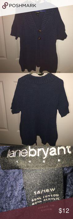 Lane Bryant sweater Lane Bryant short sleeved blue button sweater. Size 14/16. Lane Bryant Sweaters Cardigans